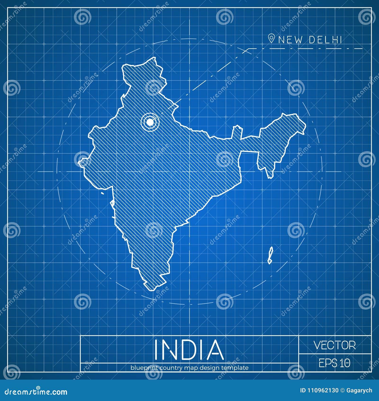 Plantilla Del Mapa Del Modelo De La India Con El Capital Ilustración ...
