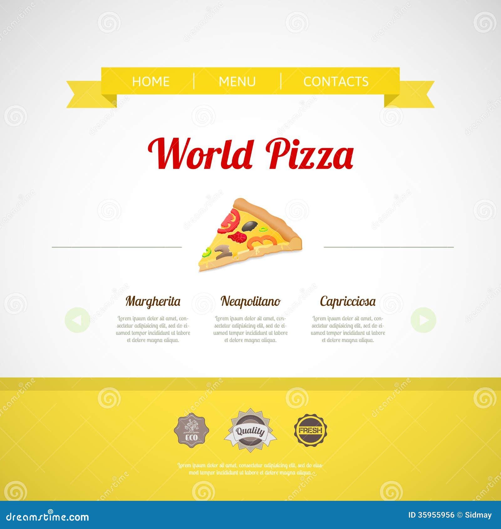 Plantilla del menú de la pizza, ejemplo del vector