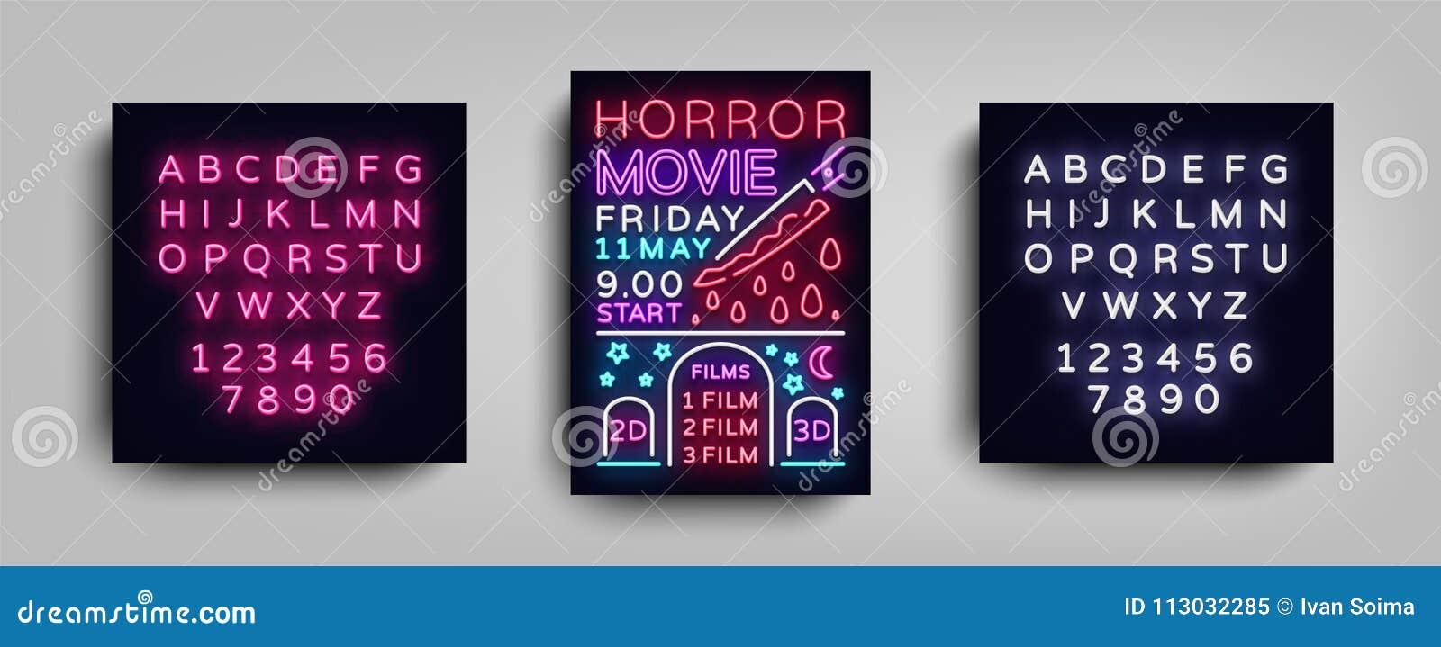 Plantilla del neón del diseño de la tipografía de la postal de la película de terror Neón del estilo del folleto, señal de neón,