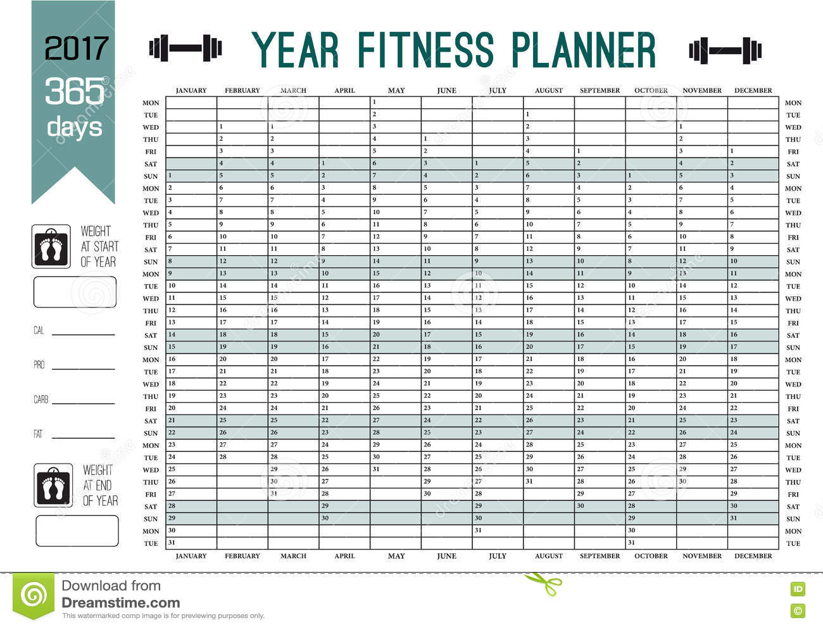 Plantilla del planificador de la pared del año Planee hacia fuera su aptitud entera con este calendario Diseño del vector para el