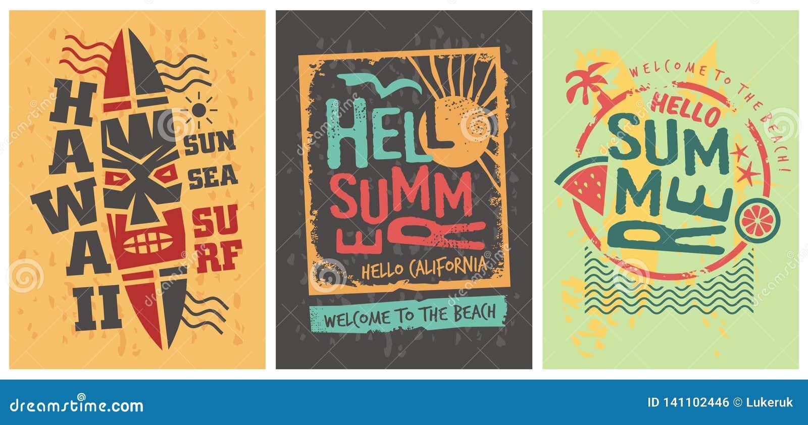 Plantilla del sistema de los diseños gráficos de las camisas del verano