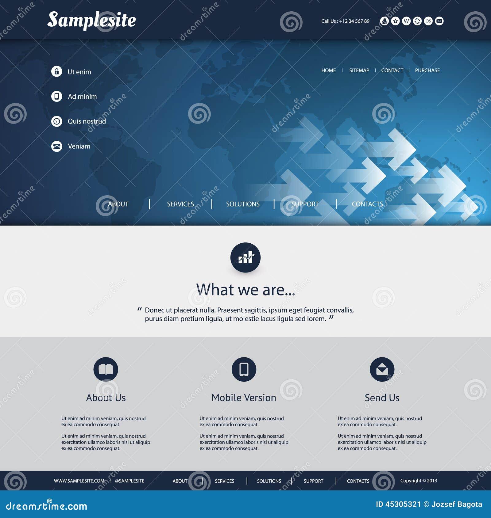 Plantilla Del Sitio Web Con El Diseño Del Modelo Del Mapa Del Mundo ...