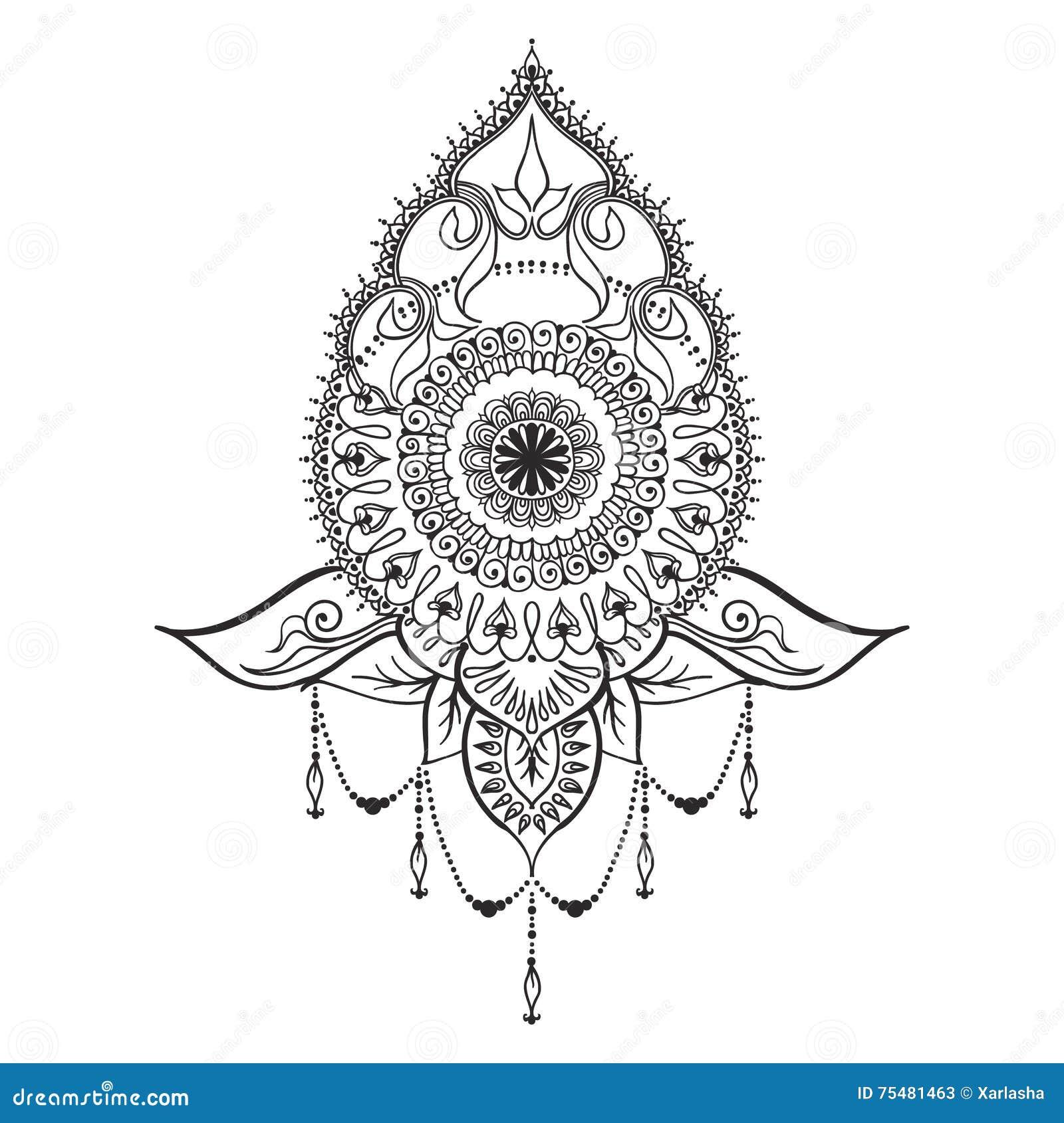 Plantilla Del Tatuaje En Estilo Del Mehndi Ilustración Del Vector