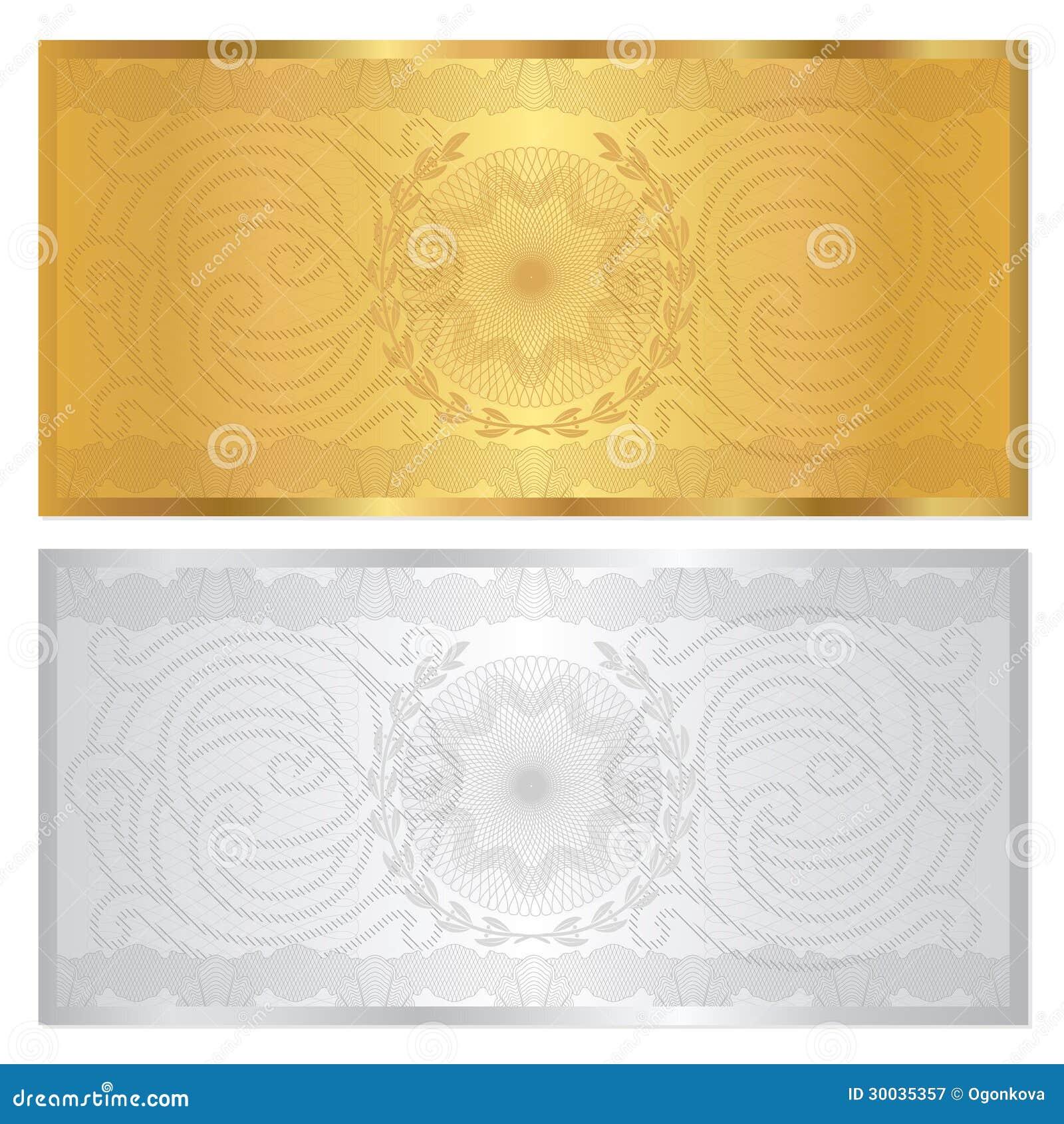 Plantilla del vale de la plata/del oro. Modelo del guilloquis