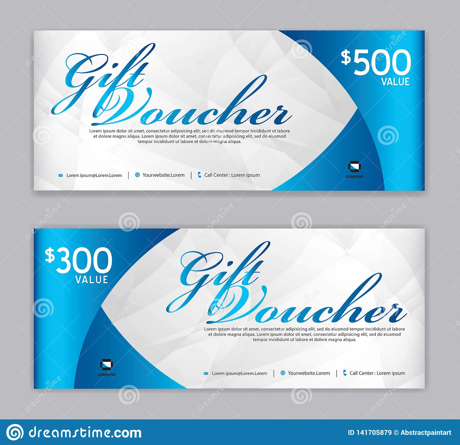 Plantilla del vale de regalo, bandera de la venta, disposición horizontal, tarjetas del descuento, jefes, página web, fondo azul,