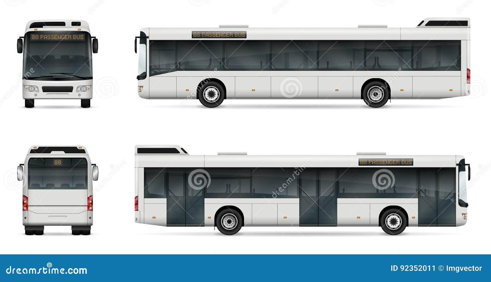 Plantilla Del Vector Del Autobús De La Ciudad Ilustración del ...