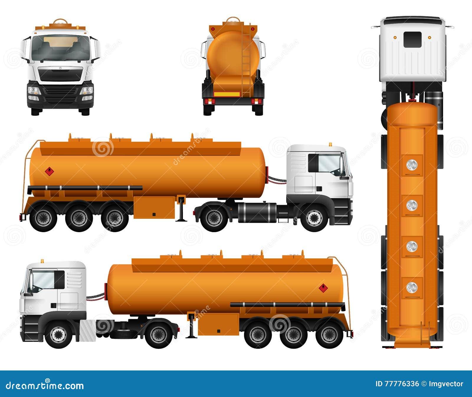 Plantilla Del Vector Del Remolque Del Camión Petrolero Del Gas ...