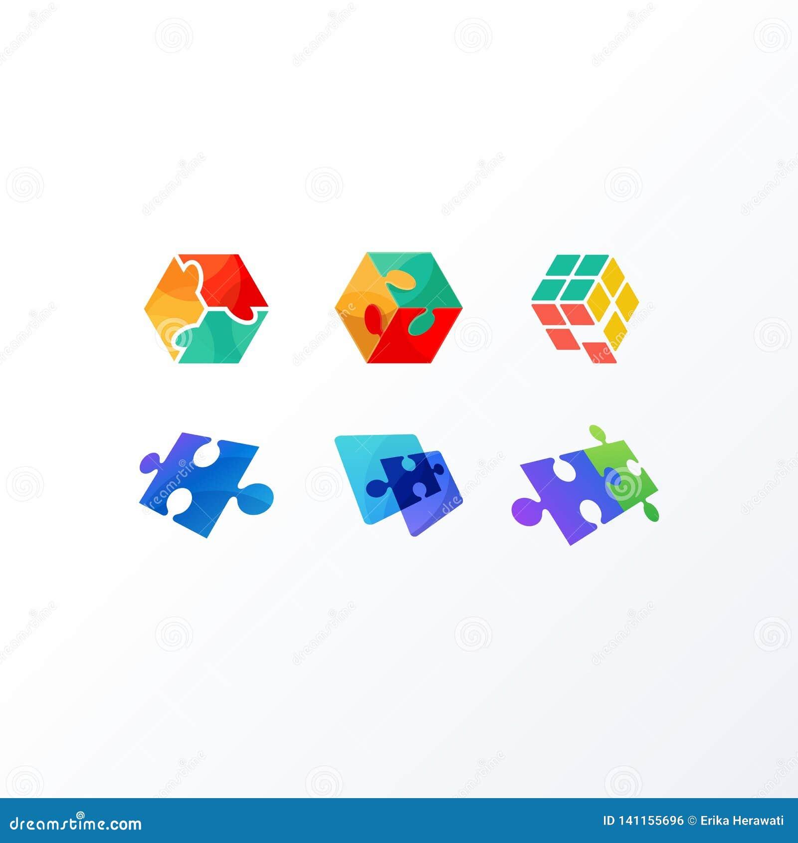 Plantilla del vector del ejemplo del concepto de diseño del rompecabezas