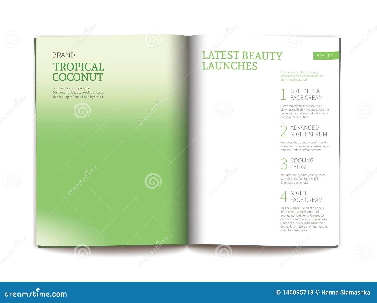 Plantilla del vector para la revista cosmética brillante