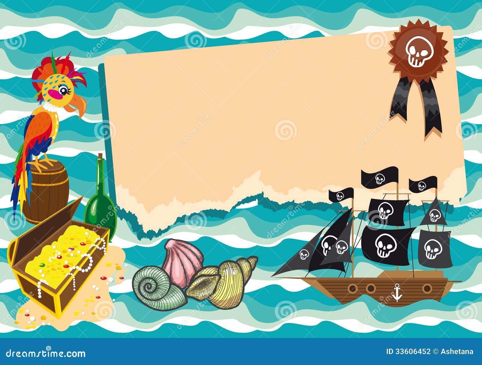 Plantilla Divertida En Tema Del Pirata. Stock de ilustración ...