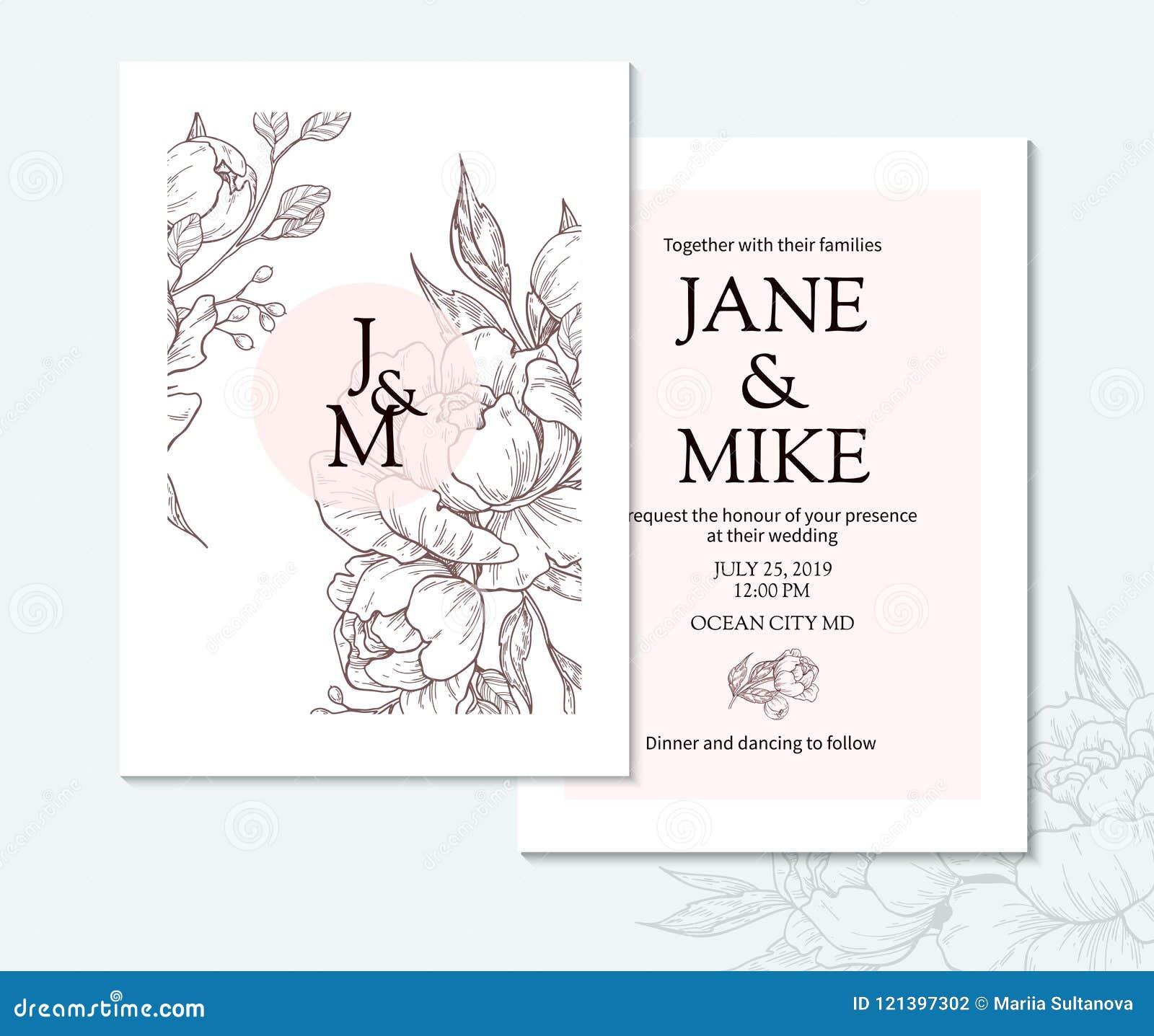 Plantilla elegante de la tarjeta de la invitación de la boda del vintage con la peonía y las rosas del vector