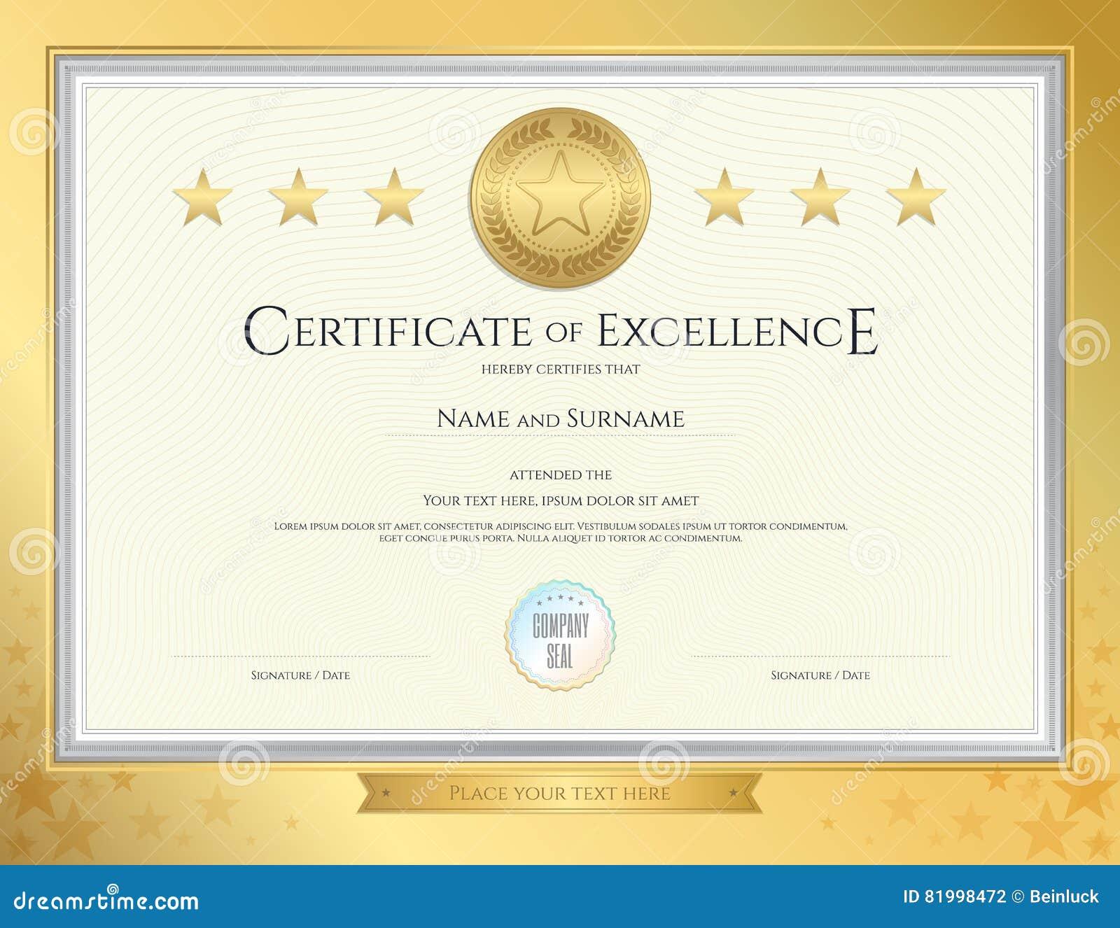 Plantilla Elegante Del Certificado Para La Excelencia, Logro ...