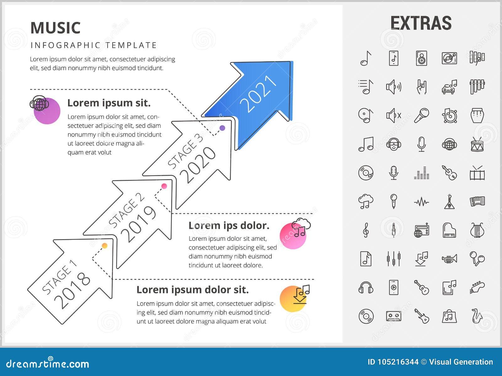 Plantilla Elementos E Iconos Infographic De La Musica Ilustracion