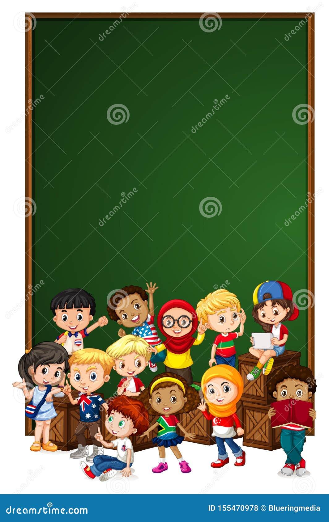 Plantilla en blanco de la muestra con los niños en la caja de madera