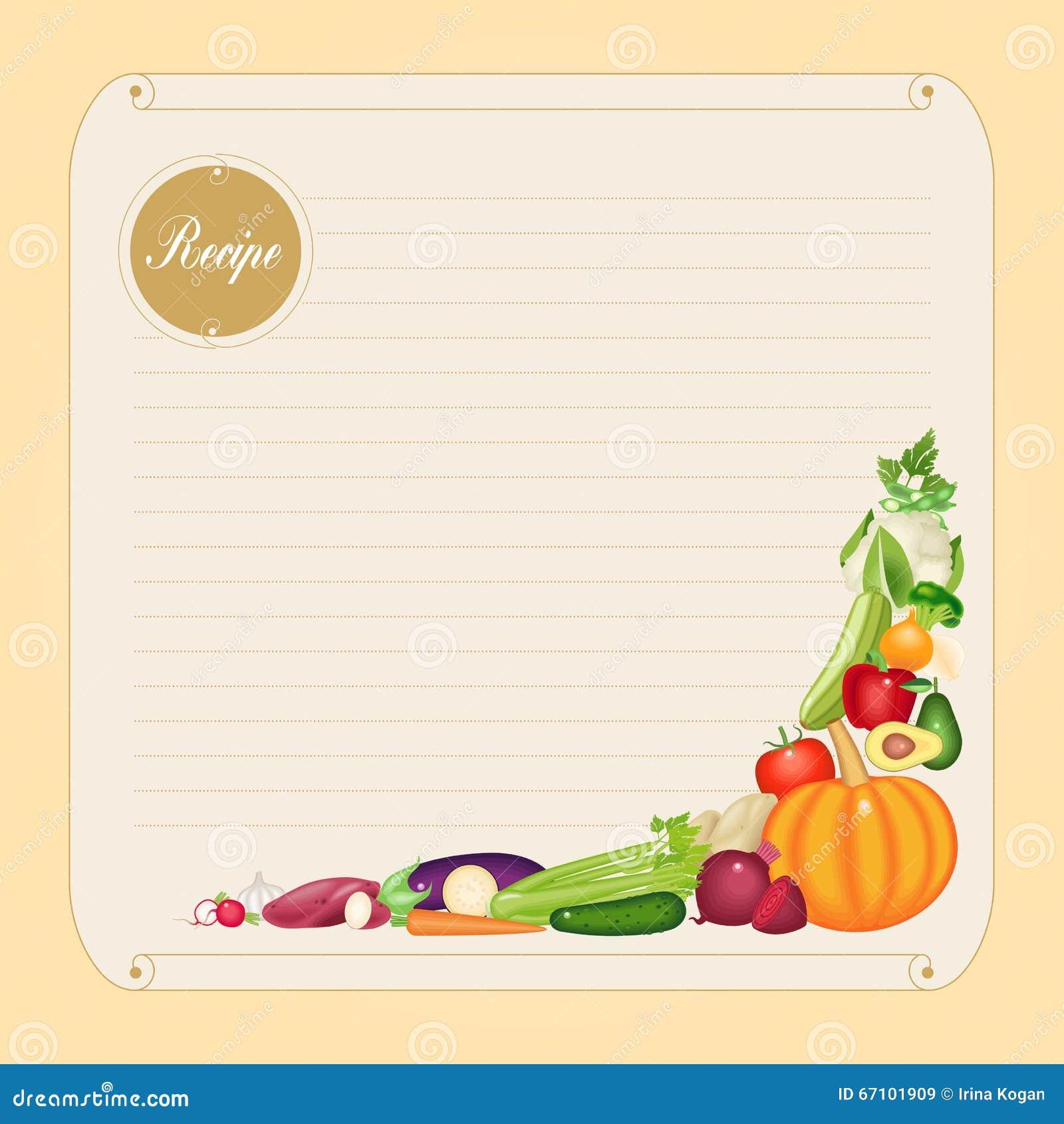 Plantilla en blanco de la tarjeta de la receta en formato for Plantillas de cocina