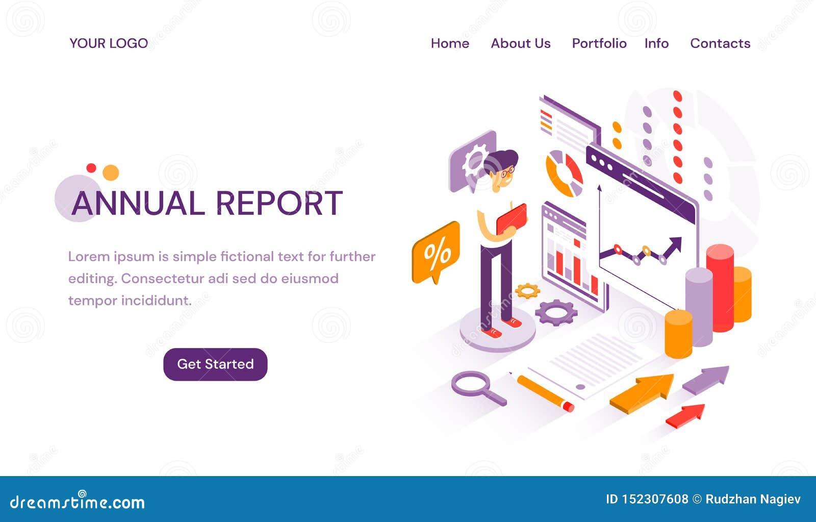 Plantilla en línea de la página web del informe anual para entregar analytics y finanzas de finales de ano con el espacio de la c