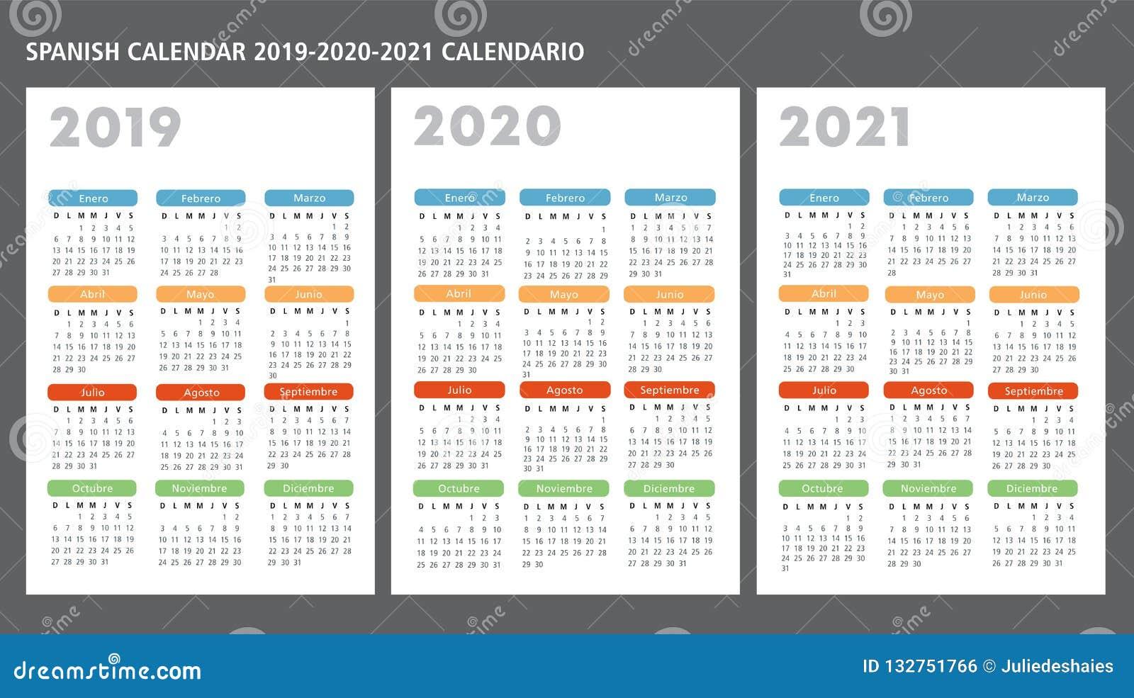 Calendario Agosto 2020 Argentina.Plantilla Espanola Del Vector Del Calendario 2019 2020 2021