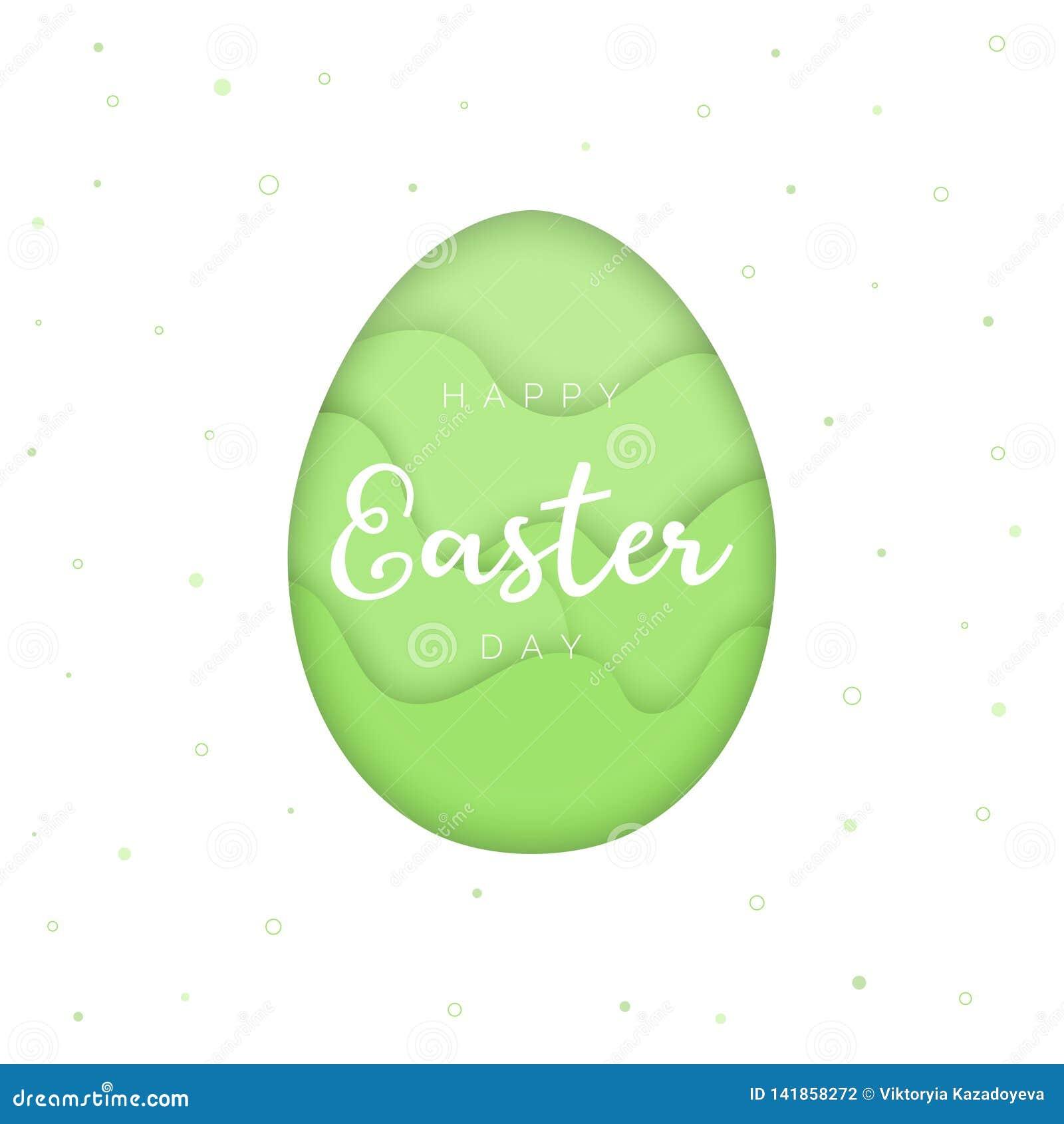 Plantilla feliz de la tarjeta de pascua, huevo del estilo del papercut, fondo verde