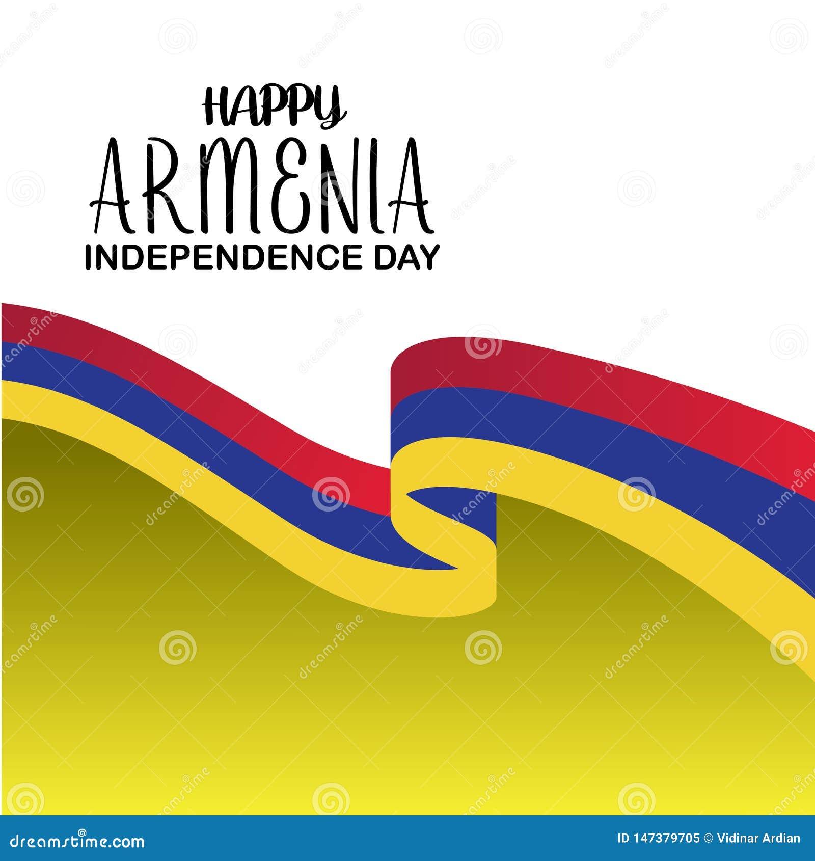 Plantilla feliz del vector del D?a de la Independencia de Armenia Dise?o para la bandera, las tarjetas de felicitaci?n o la impre