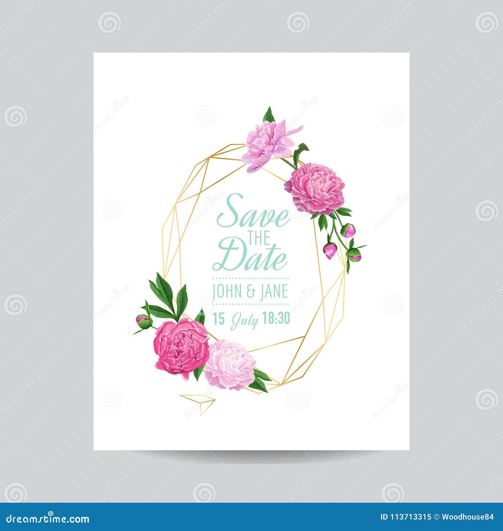 Plantilla Floral De La Invitación De La Boda Con Las Peonías Rosadas ...