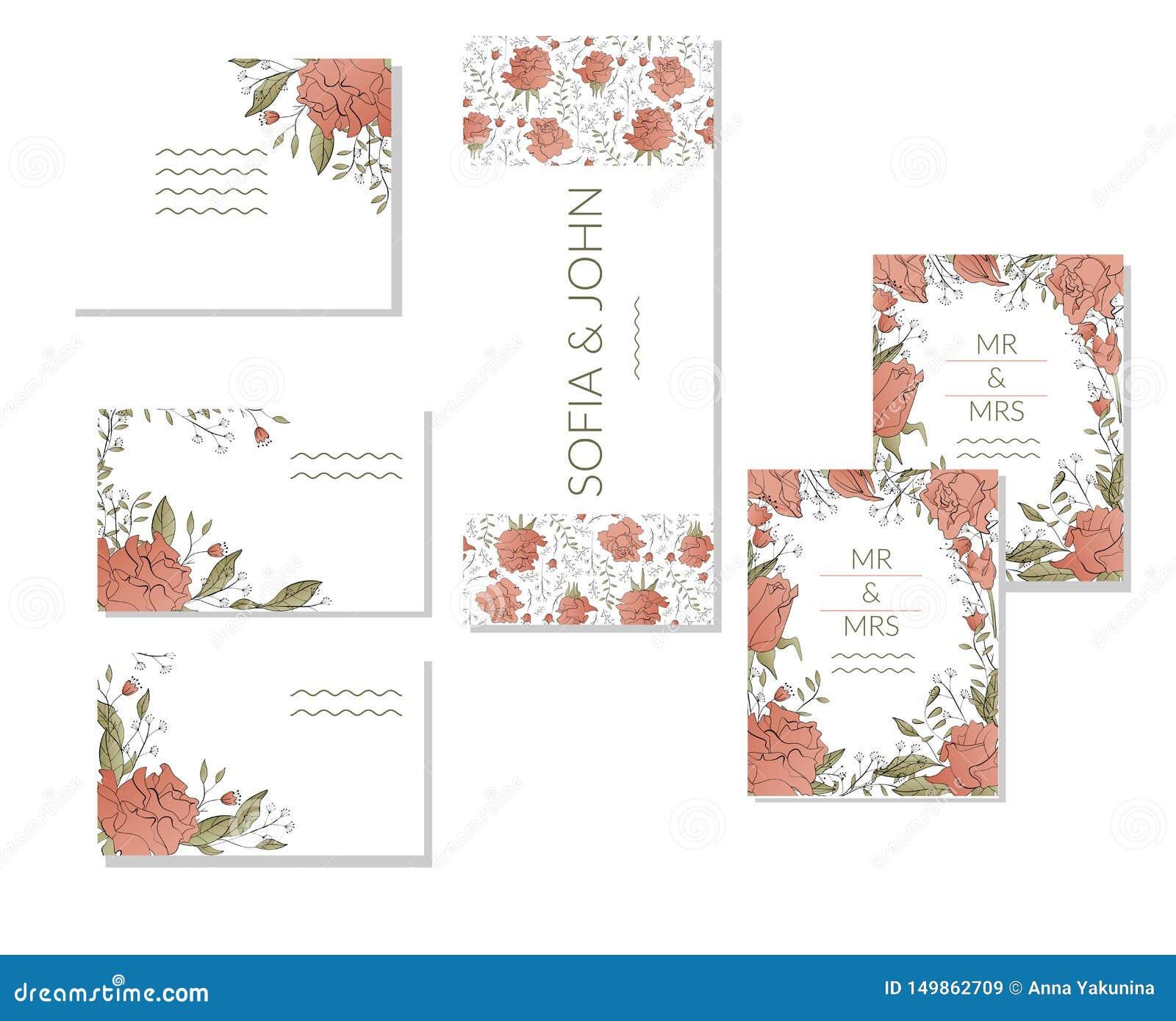 Plantilla floral de la primavera con los manojos de rosas