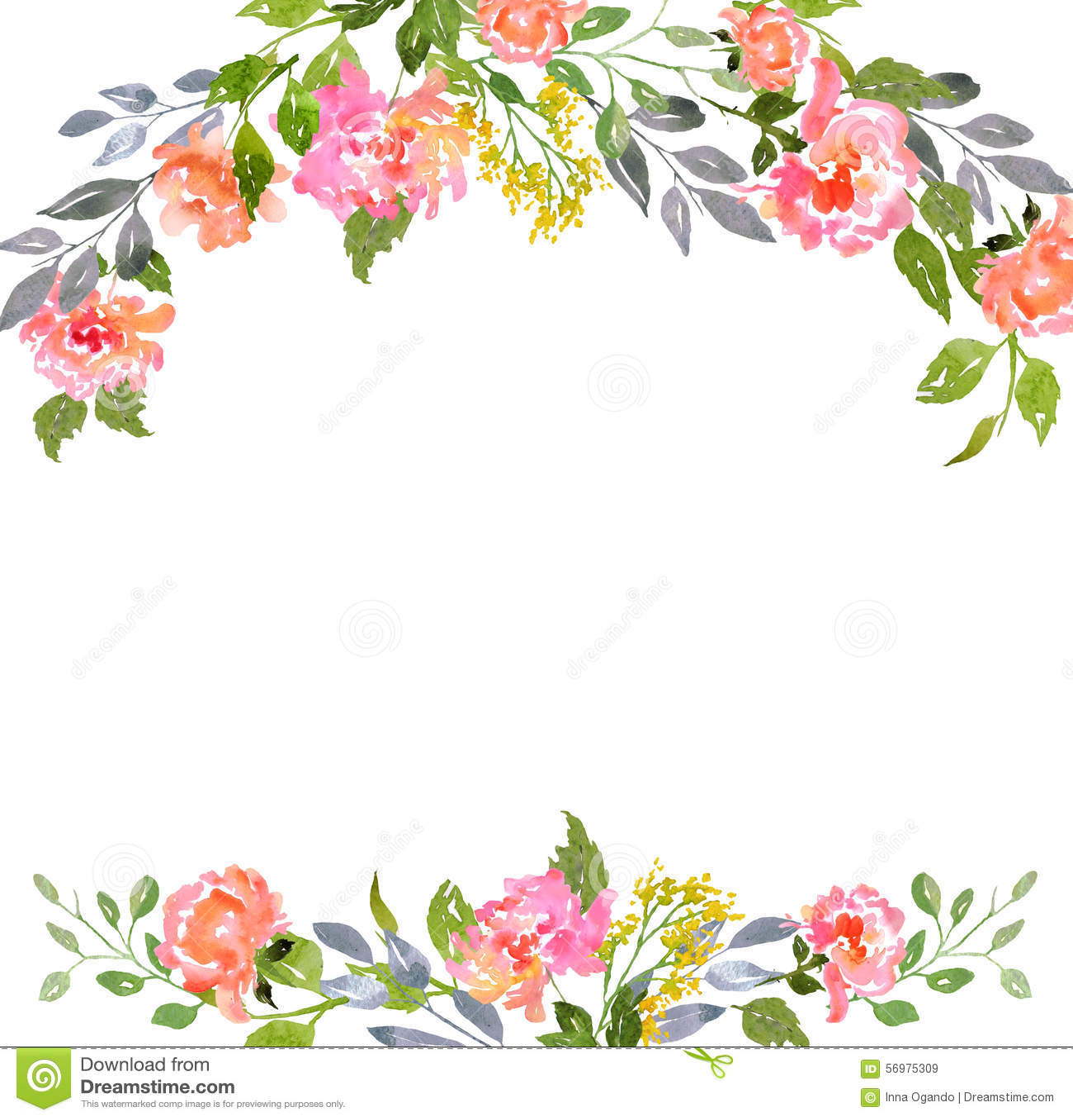 Plantilla floral de la tarjeta de la acuarela