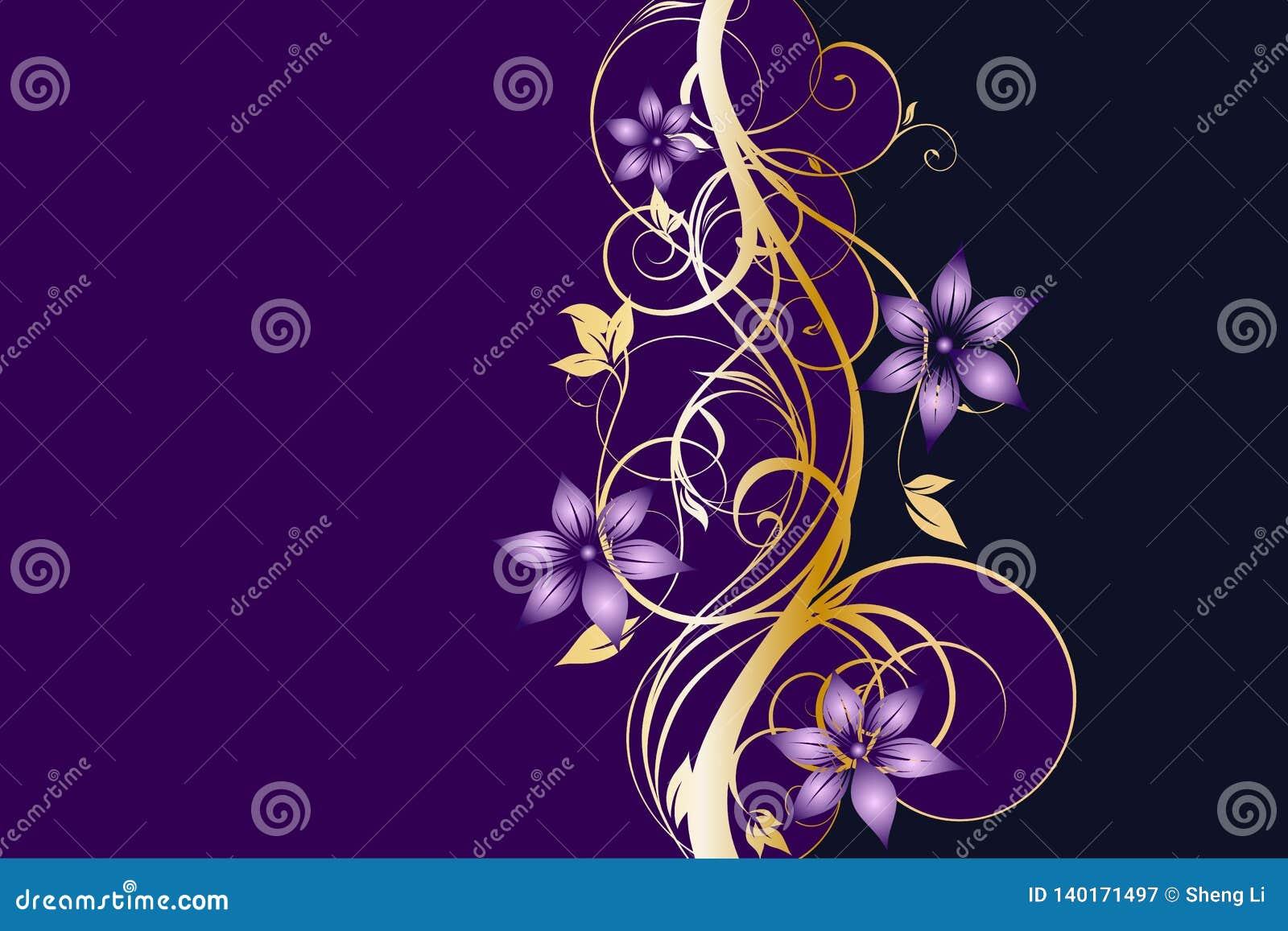 Plantilla floral de oro y púrpura occidental del fondo