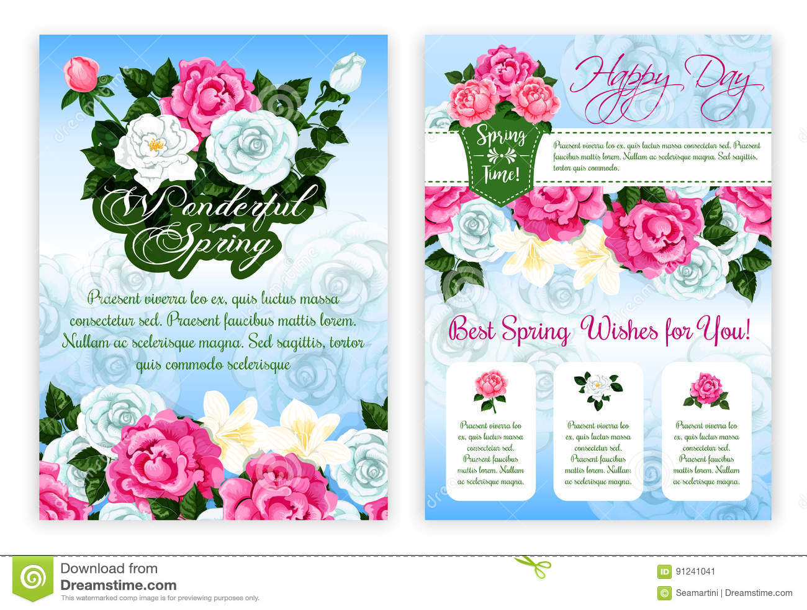 989481b9c Plantilla floral del cartel de la primavera feliz La flor de la primavera  del ramo color de rosa y de la peonía con la hoja verde