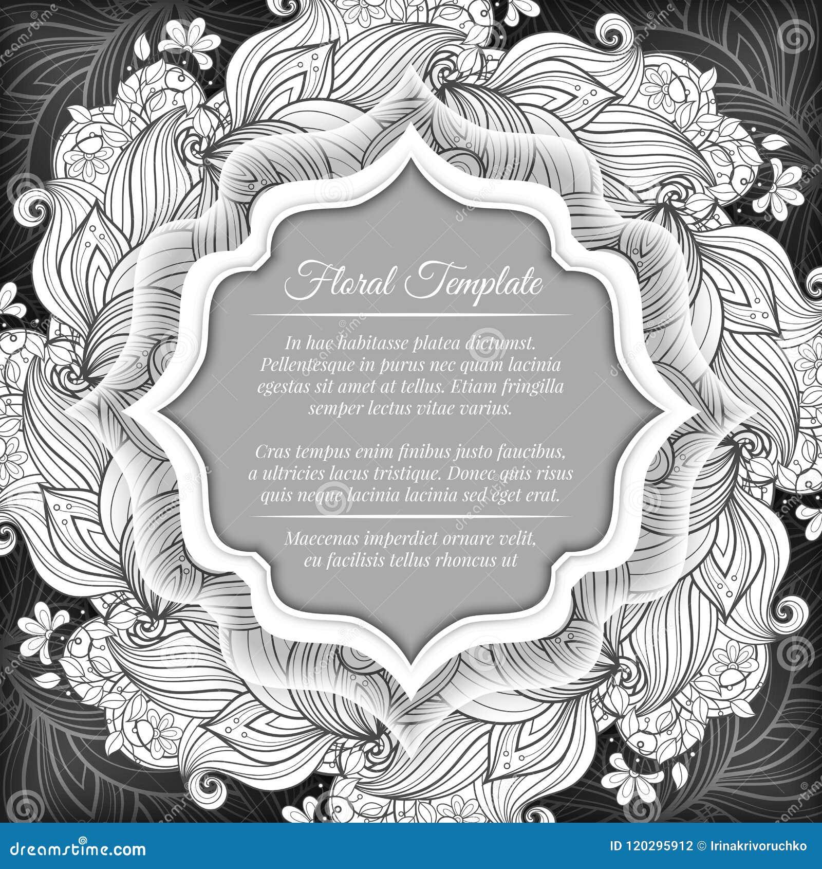 Plantilla Floral Monocromática Ilustración del Vector - Ilustración ...