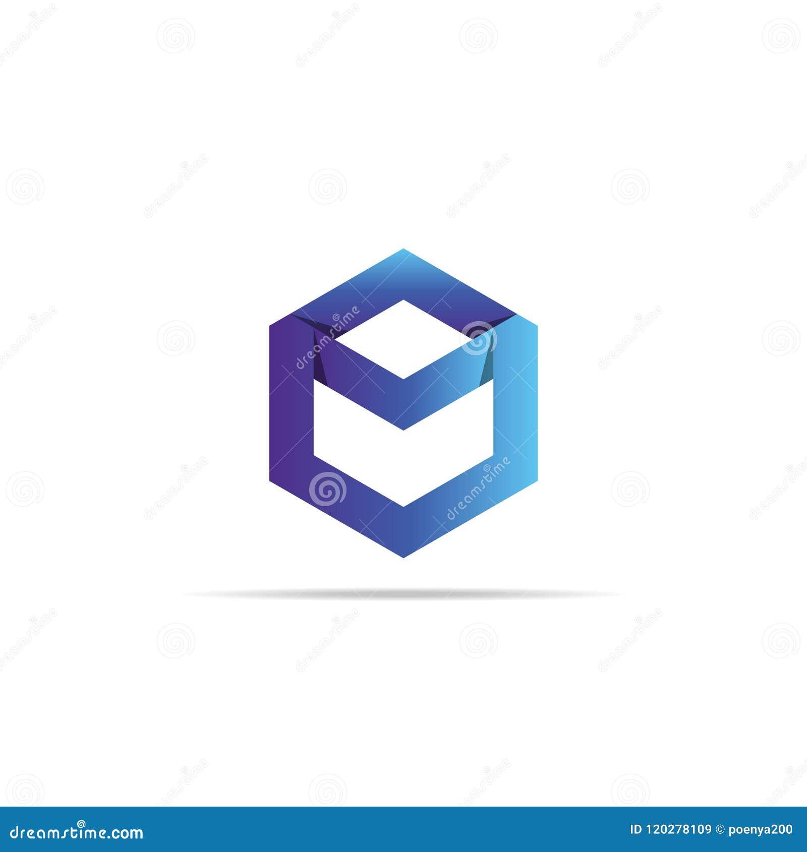 Plantilla Geométrica Abstracta Del Logotipo De La Letra M Con El ...