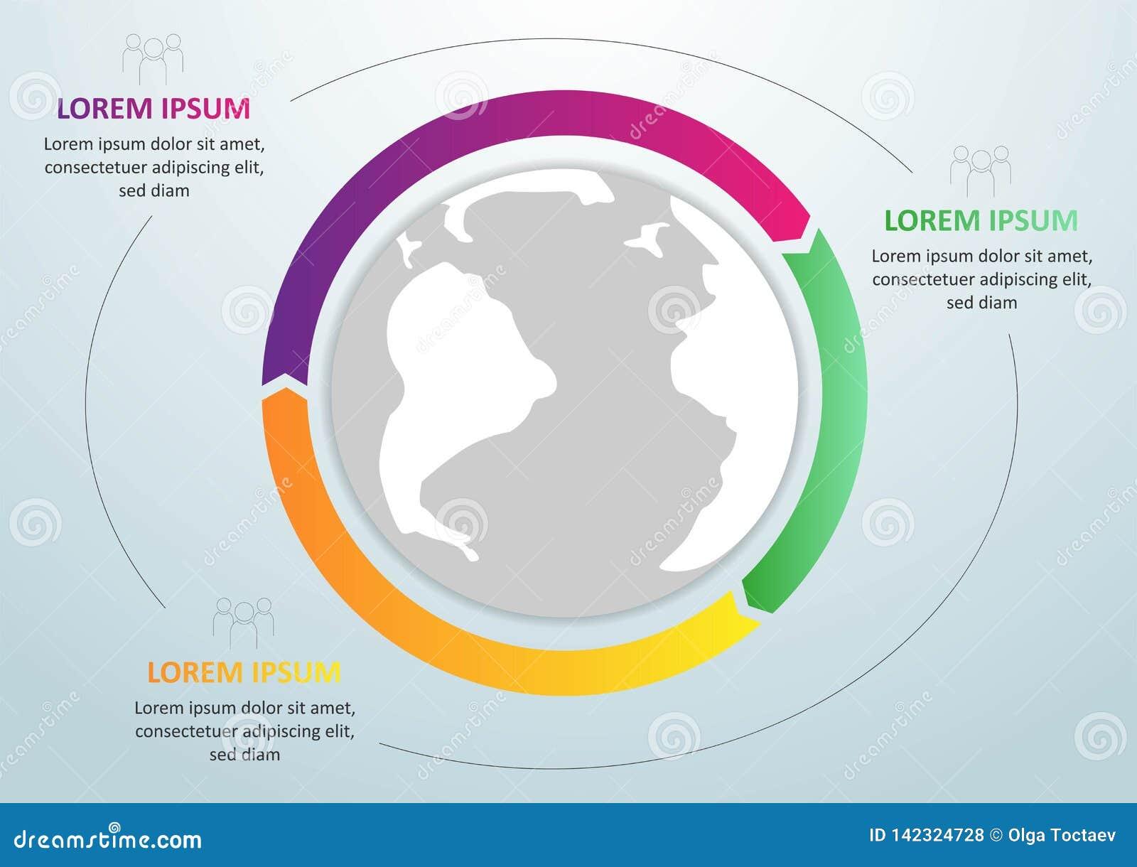 Plantilla global del infographics moderno para 3 opciones Vector Puede ser utilizado para la disposición del flujo de trabajo, ba
