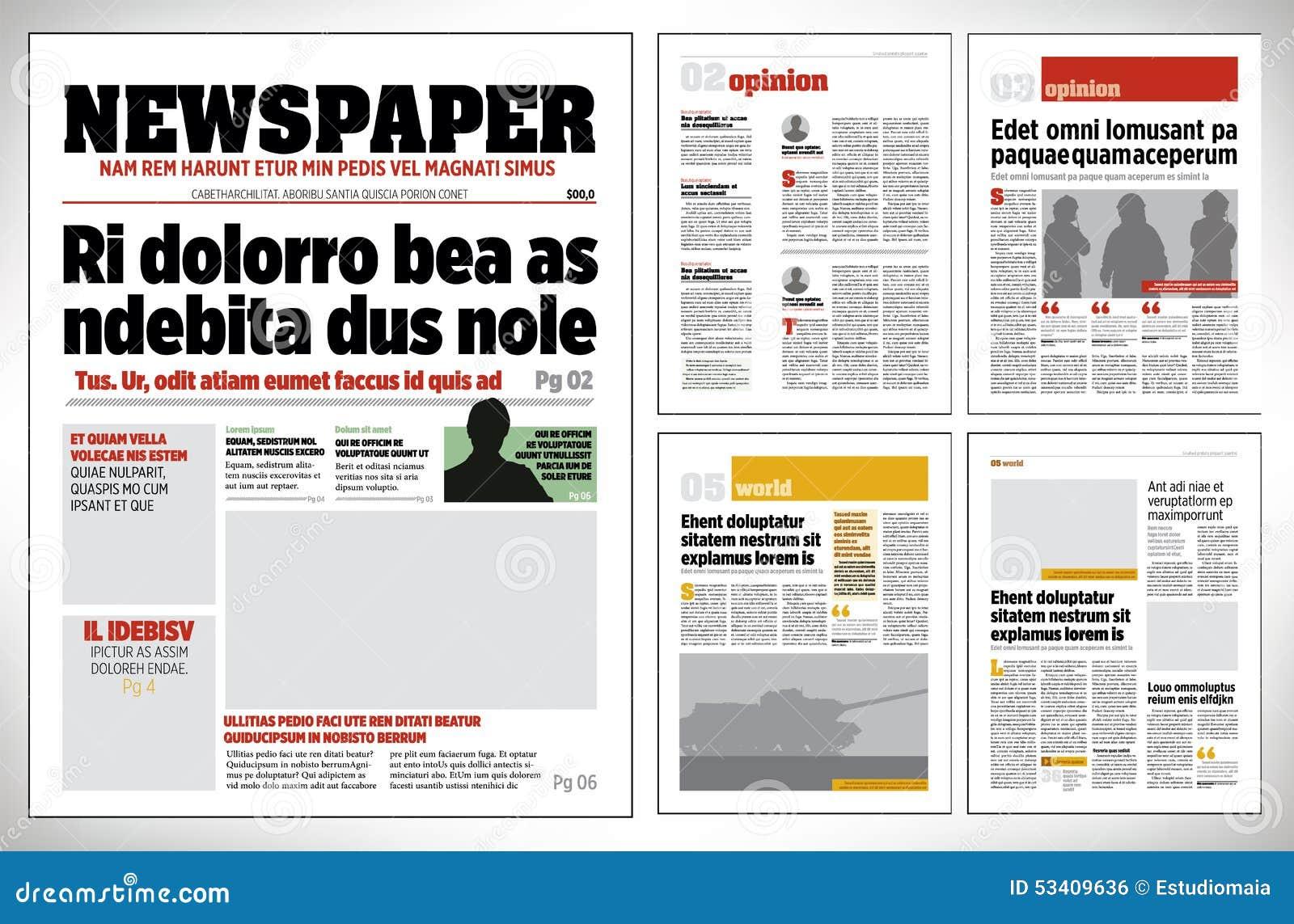 Plantilla Gráfica Del Periódico Del Diseño Ilustración del Vector ...