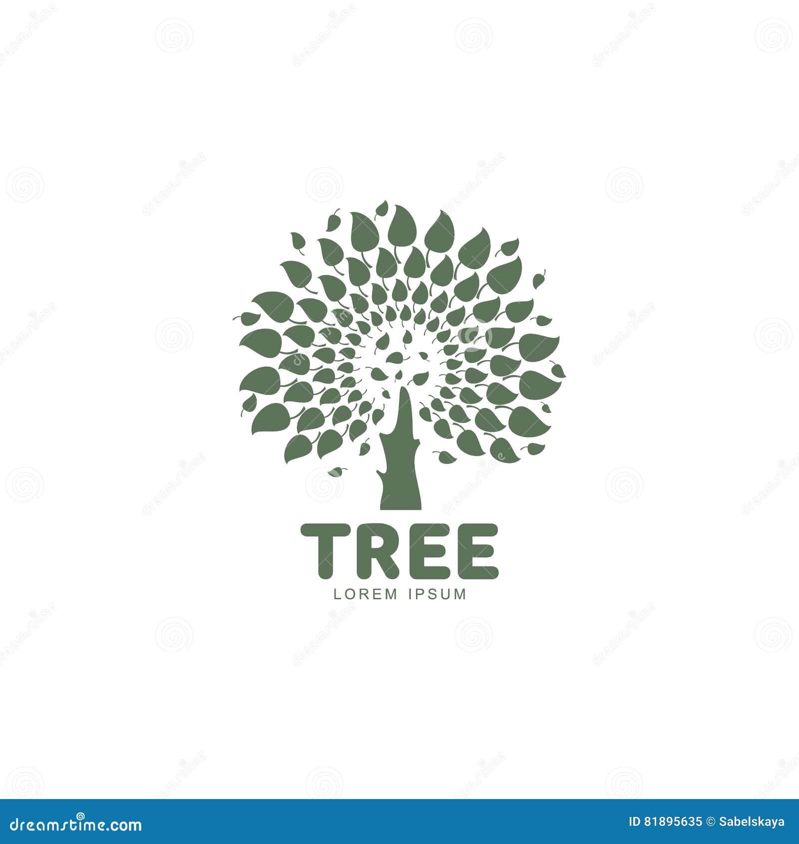 Plantilla Gráfica Estilizada Del Logotipo Del árbol De La Forma ...