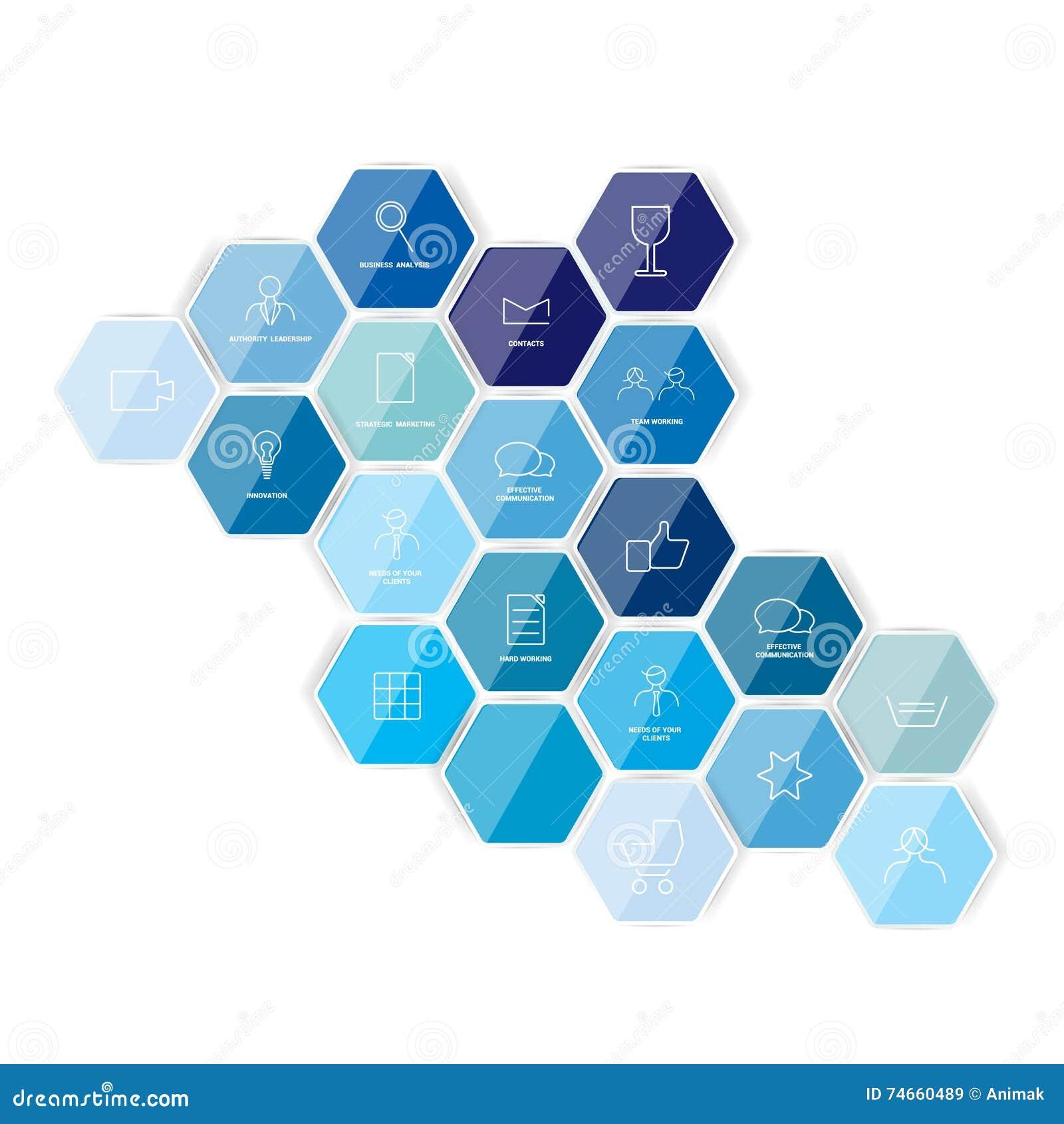 Plantilla Hexagonal Del Icono Vector Ilustración del Vector ...