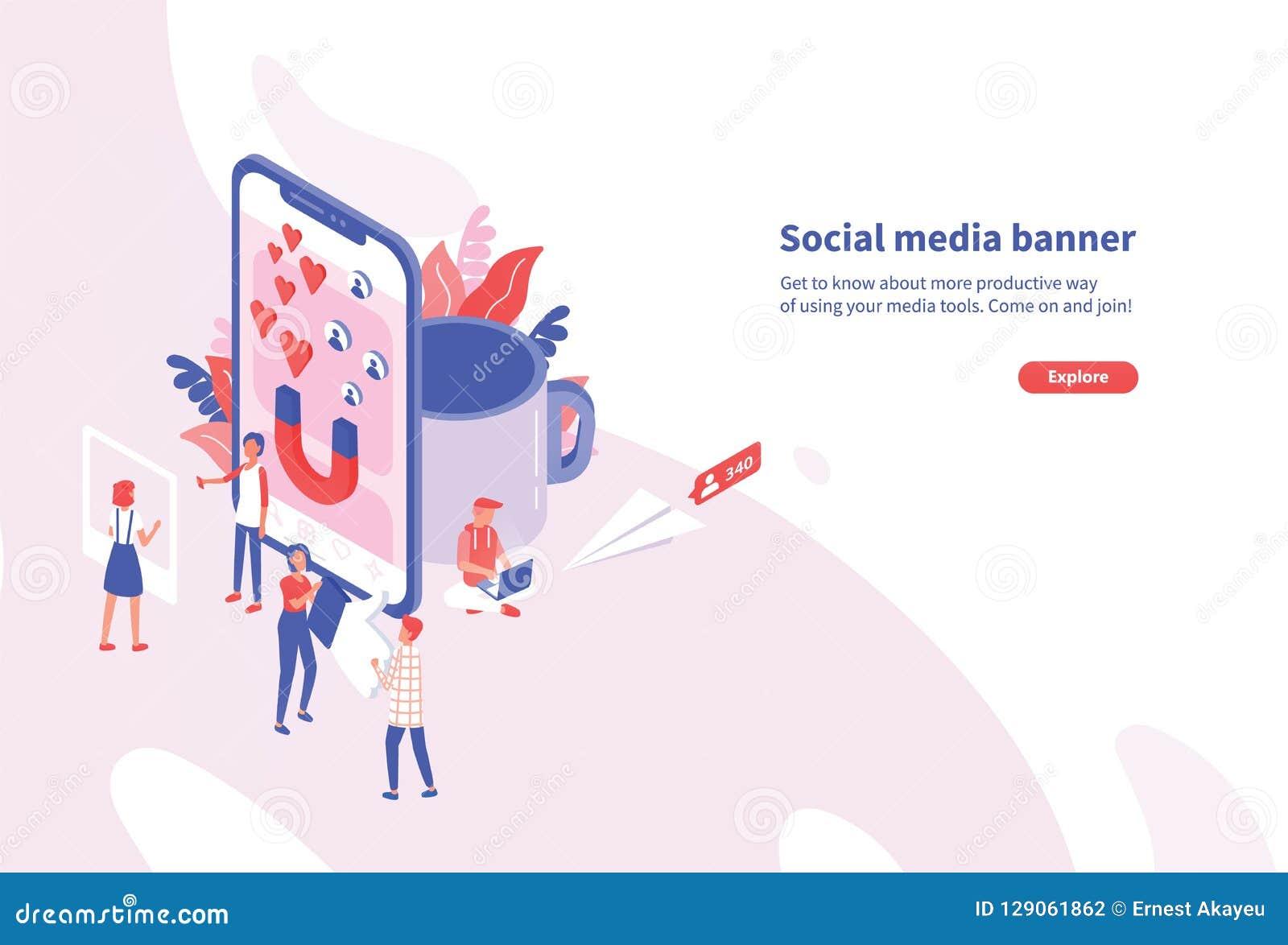 Plantilla horizontal creativa de la bandera de la web con la gente minúscula y el smartphone gigante Herramientas sociales de los