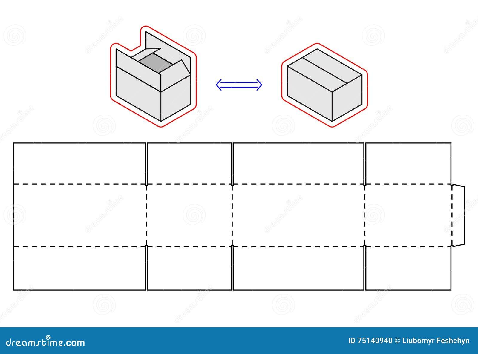 Plantilla Horizontal De La Caja Embalaje Del Vector Corte Simple ...