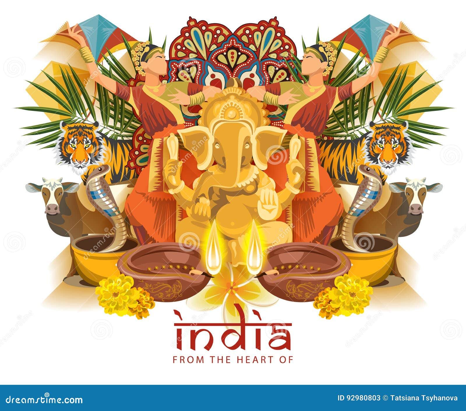 Plantilla India Del Viaje Del Corazón De La India Ejemplo Del Vector ...