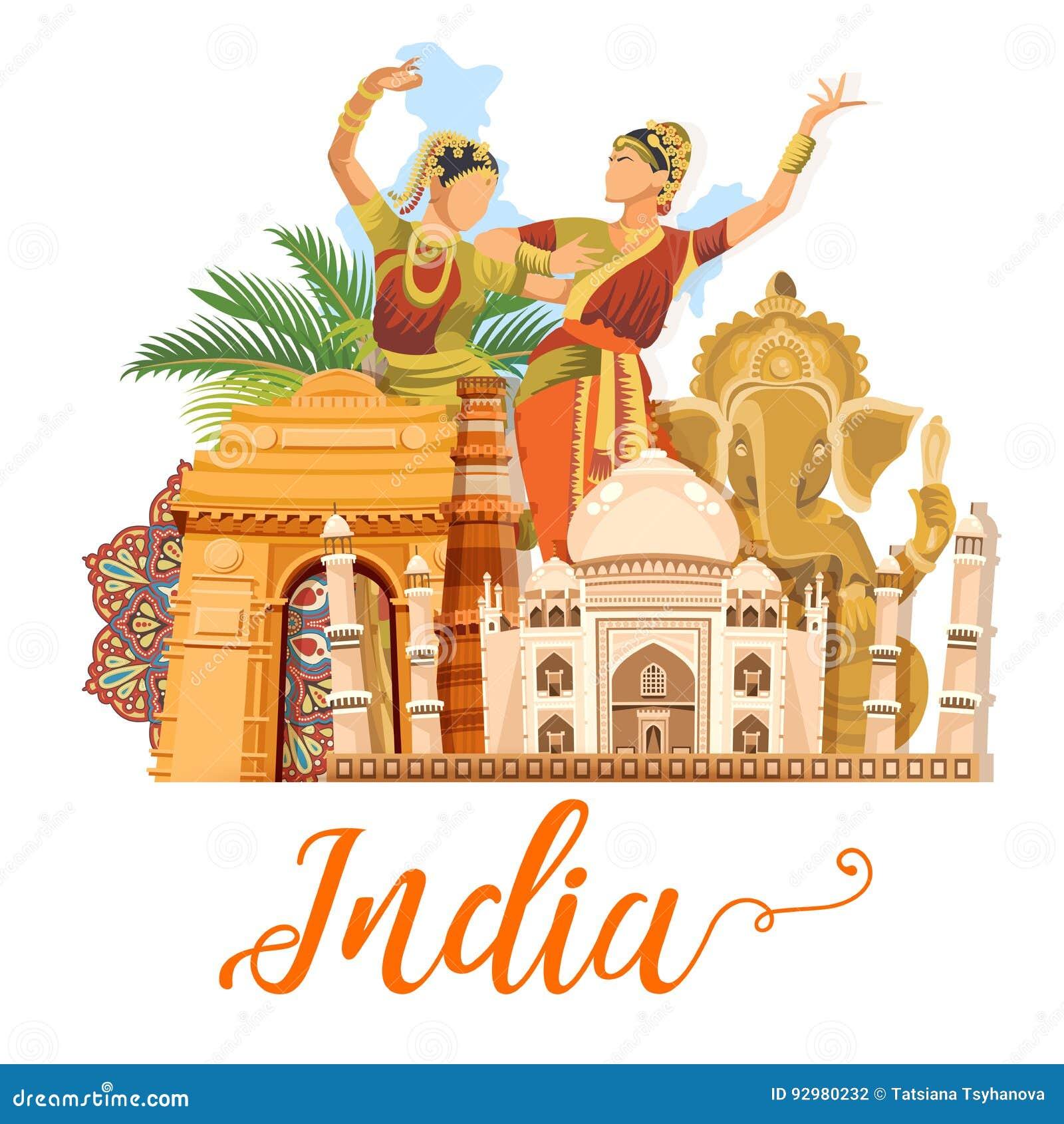 Plantilla India Del Viaje En El Fondo Blanco Amo La India Ejemplo ...