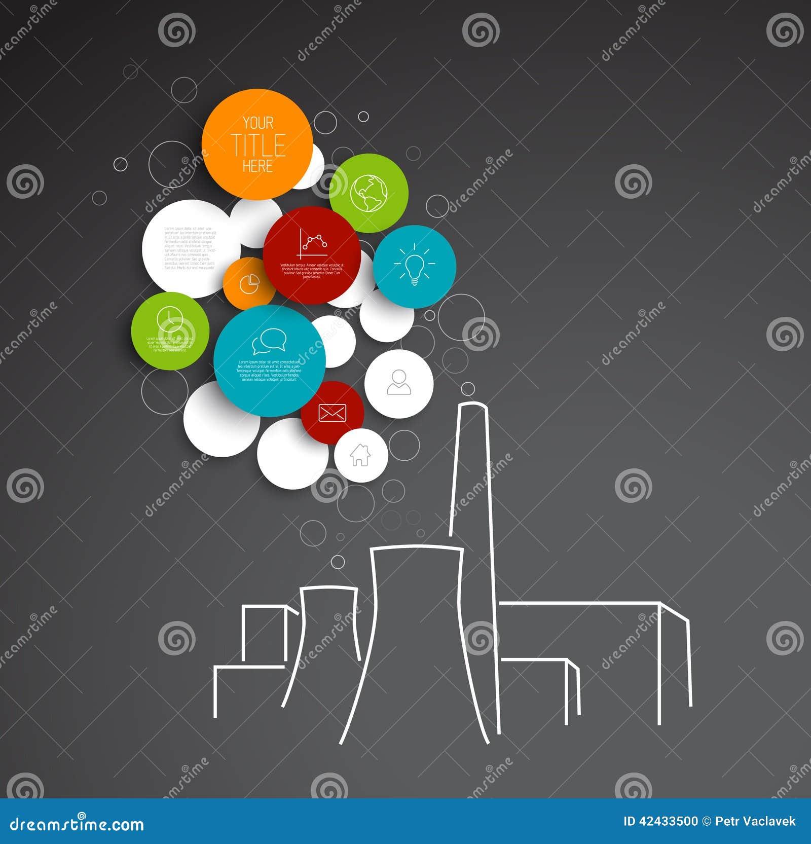 Plantilla infographic de la contaminación abstracta de los círculos del vector