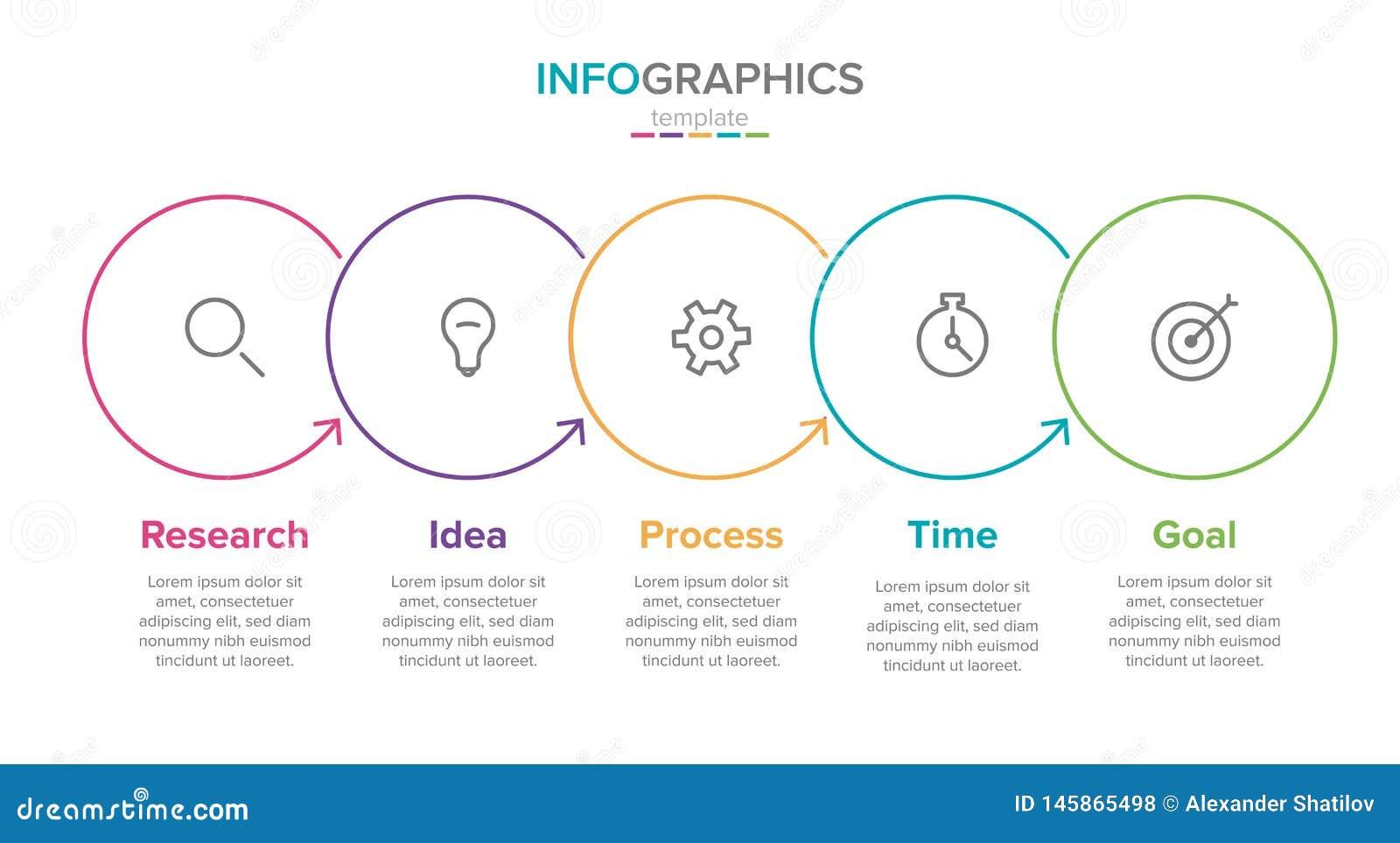 Plantilla infographic de la etiqueta del vector con los iconos 5 opciones o pasos Infographics para el concepto del negocio puede