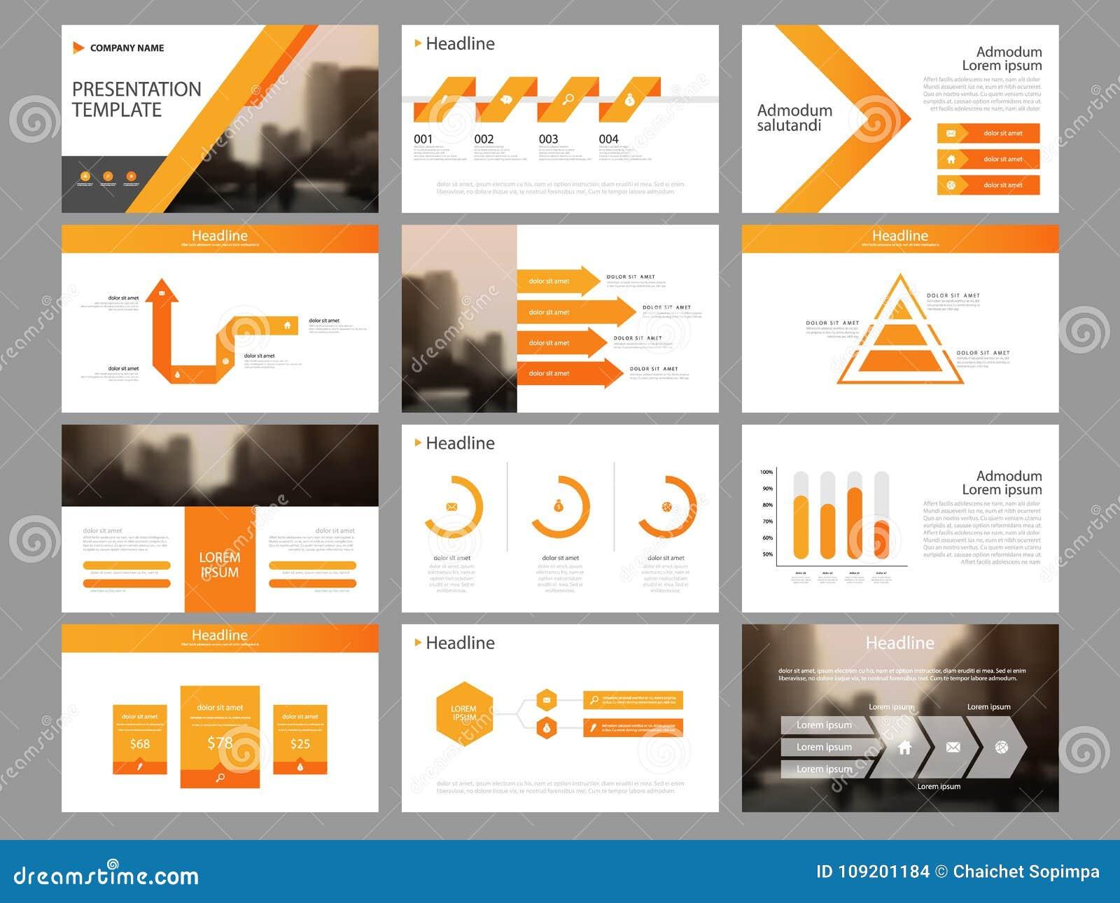 Plantilla infographic de la presentación de los elementos del paquete anaranjado del triángulo informe anual del negocio, folleto