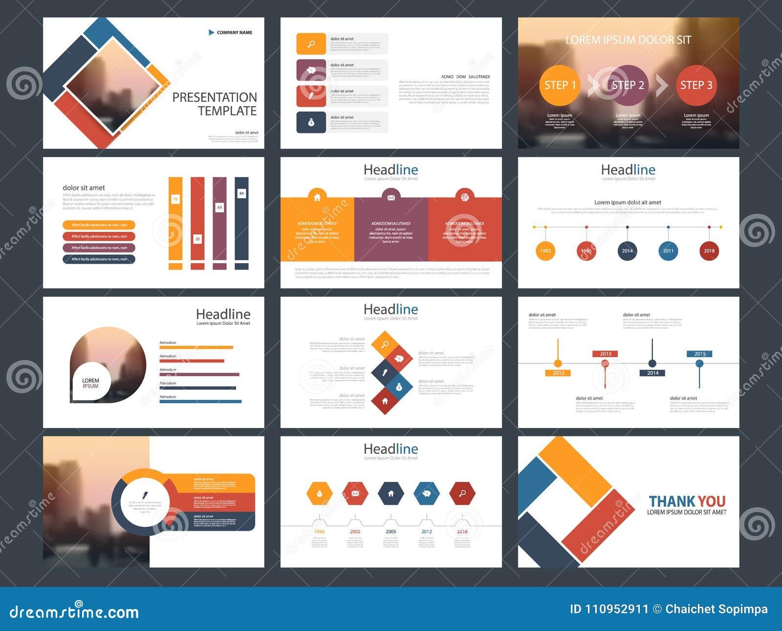 Plantilla infographic de la presentación de los elementos del paquete colorido informe anual del negocio, folleto, prospecto, avi