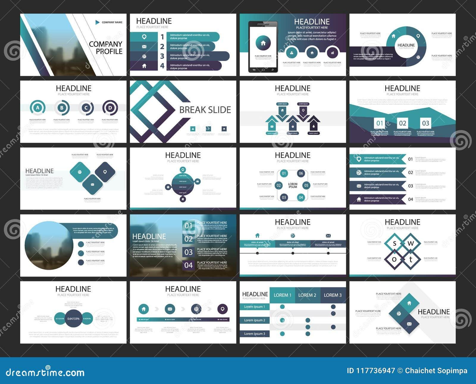 Plantilla infographic de la presentación de los elementos del paquete informe anual del negocio, folleto, prospecto, aviador de p