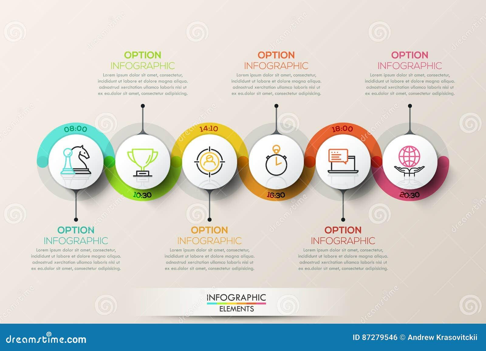 Plantilla infographic del diseño de la cronología plana de la conexión con los iconos del color
