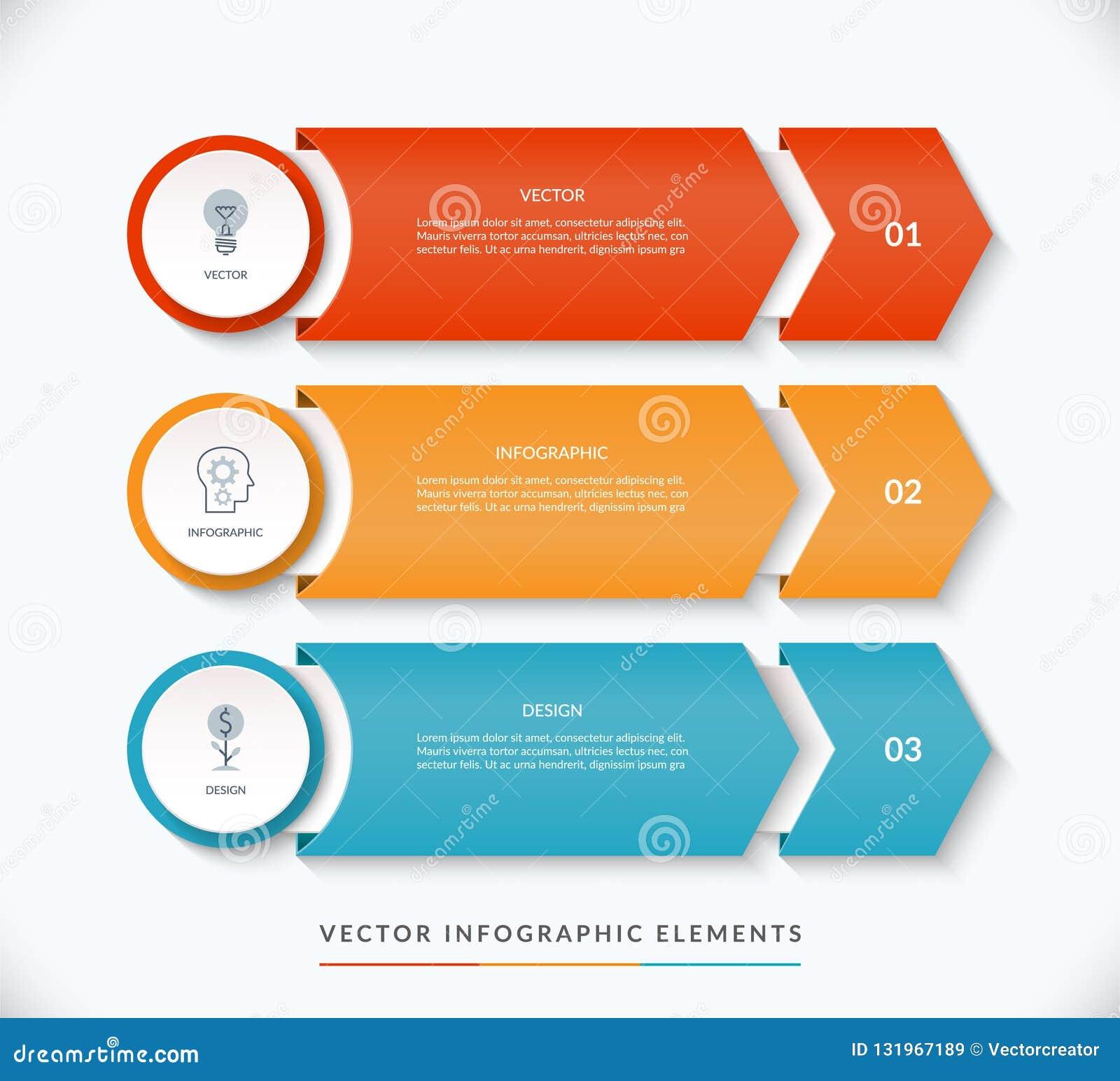 Plantilla infographic del diseño del vector con 3 flechas que señalan la derecha