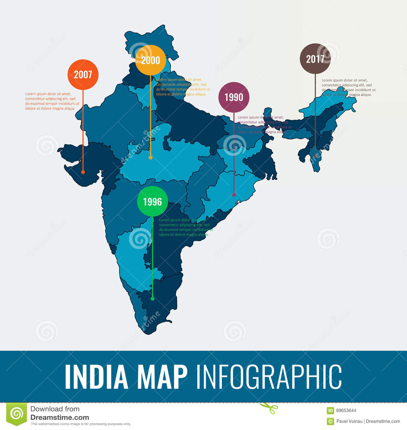 Plantilla Infographic Del Mapa De La India Todas Las Regiones Son A ...