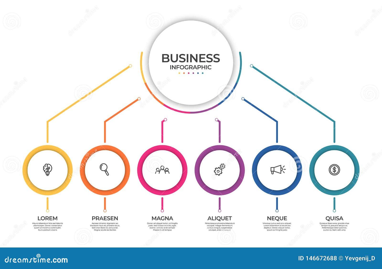 Plantilla infographic del negocio Concepto de la cronolog?a para la visualizaci?n infographic y de negocio de los datos de la pre