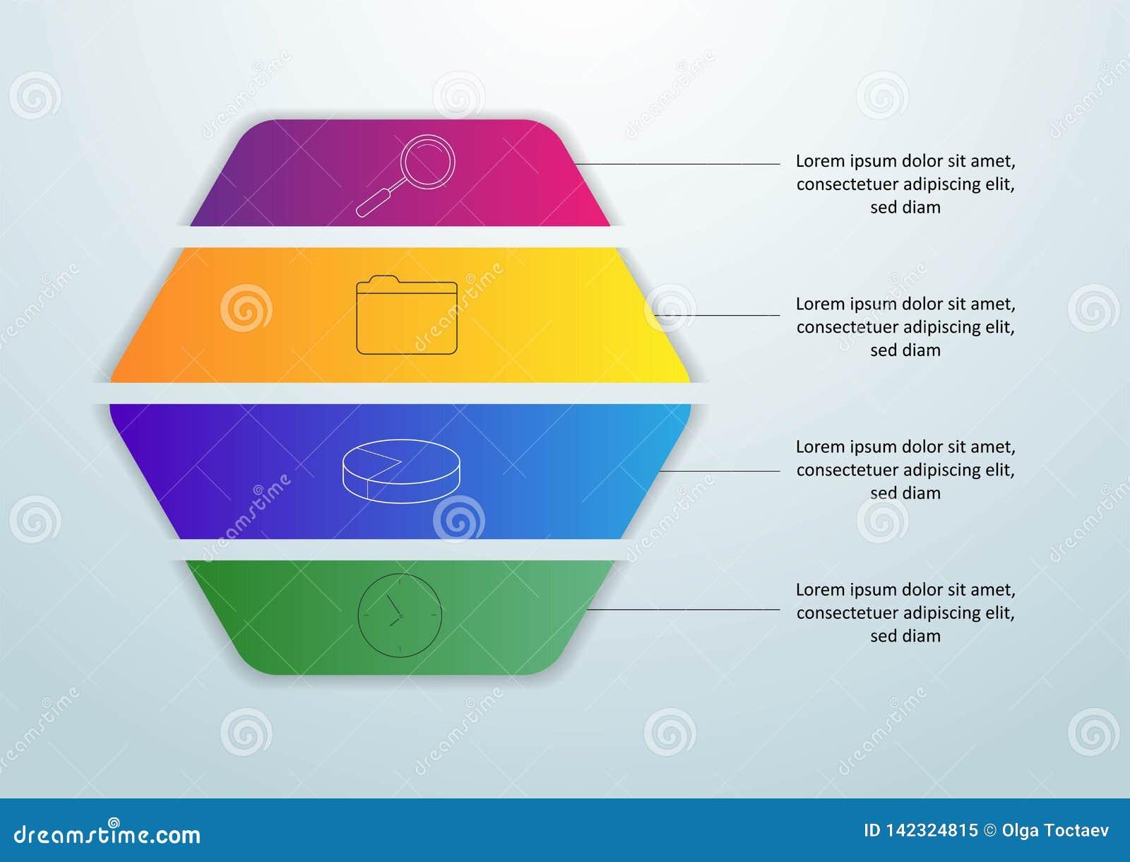 Plantilla infographic del vector con la etiqueta del papel 3D, círculos integrados Concepto del negocio con 4 opciones Para el co