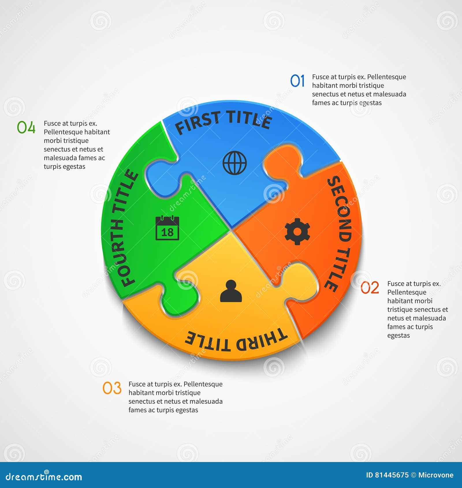 Plantilla infographic del vector del negocio con opciones del rompecabezas