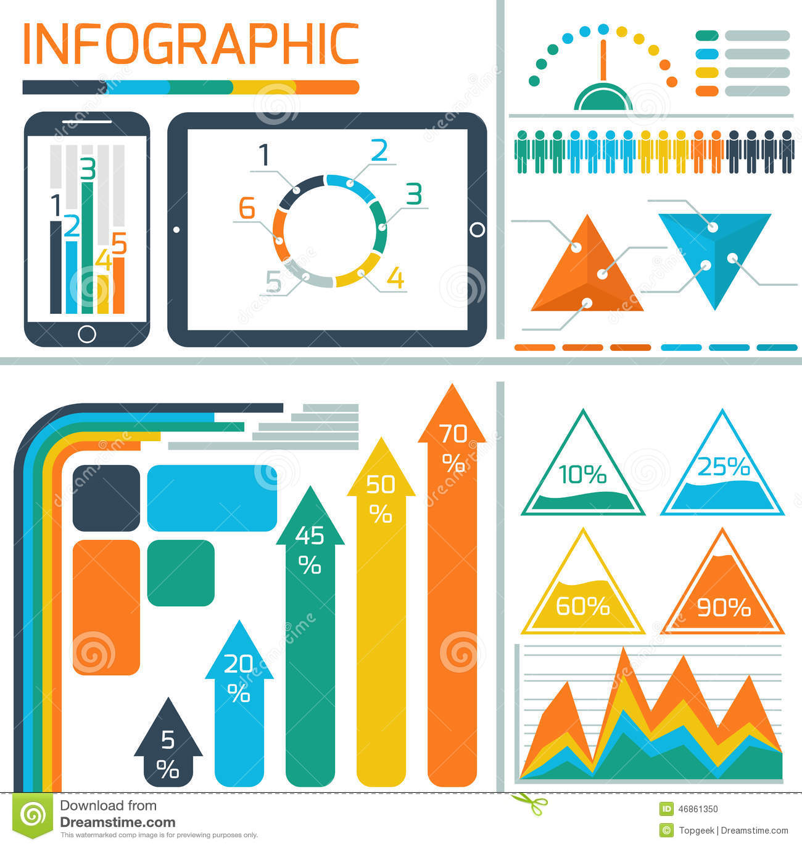 Plantilla Infographic Para La Tecnología De Las TIC Ilustración del ...